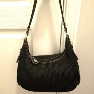 THE SAK Crochet Hobo Black Handbag Purse